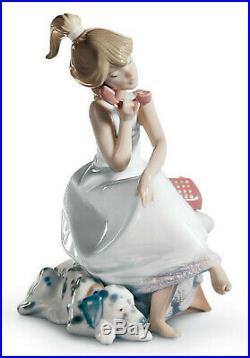 Lladro Chit Chat Girl Figurine #5466 Brand Nib Phone Puppy Dog Cute Save$$ F/sh