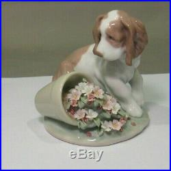 Lladro Collectors Series #7672 It Wasn't Me, Dog With Flower Pot Figurine