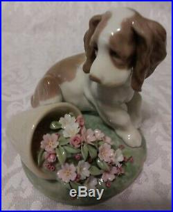 Lladro Collectors Series # 7672 Travesura. It Wasn't Me Dog With Flower Pot