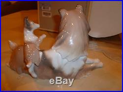 Lladro Collie Dog With Puppy Mint in Box #6459 Retired