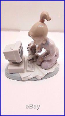 Lladro Computing Companions Collector Figurine #6692 Girl And Dog On Computer