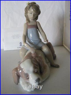 Lladro Contented Companion (Girl brushing Dog)
