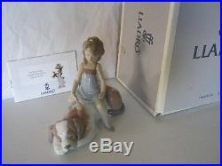 Lladro Contented Companion (Girl brushing Dog)