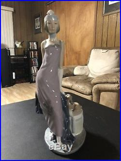 Lladro Couplet Retired 5174 Deco Woman With Dog 13 High