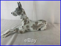 Lladro DOG Figurine 1068 GREAT DANE Retired 1989 Gray Spottted