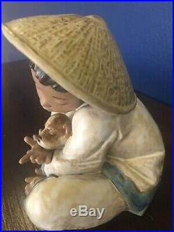 Lladro Daisa 1991 Gres Asian Boy With A Dog Figurine 10 By 10 Super Rare