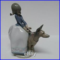 Lladro Daisa Figurine Girl Walking Shepherd Dog 1987 # F-24 Hand Made in Spain