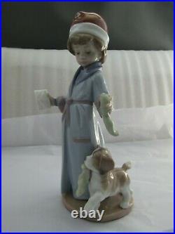 Lladro Dear Santa Christmas Figurine With Puppy Dog Ref 6166 Rare First Quality