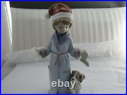 Lladro Dear Santa Christmas Figurine With Puppy Dog Ref 6166 Rare & Superb