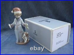 Lladro Dear Santa Figurine Mint Christmas Letter to Santa Boy with Dog