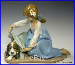 Lladro Dog's Best Friend #5688 Flowers Young Girl Covering Puppy $455 Mint
