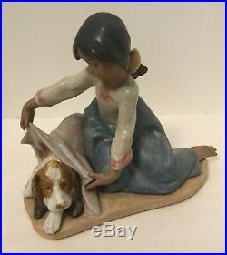 Lladro Dogs Best Friend Gres Finish 12287 Girl & Dog Mint with Box