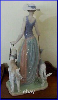 Lladro Elegant Promenade Woman Figurine, Porcelain Satue, Lady Walking Her Dogs