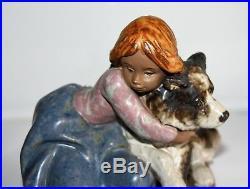 Lladro Figure Girl with Dog Handmade in Spain Daisa 1989 No. 2200