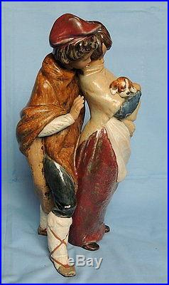 Lladro Figurine 1279'Facing The Wind' Boy & Girl In Blanket With Dog