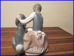 Lladro Figurine 1334 Girl Feeding Dog 1977 Retired in 1981 Vintage Glazed