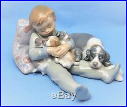 Lladro Figurine #1535 Sweet Dreams Figurine Boy With Dogs Puppies