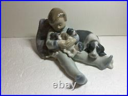 Lladro Figurine 1535 Sweet Dreams, Mint, Retired, Baby, Boy, Dog, Puppies, Sleep