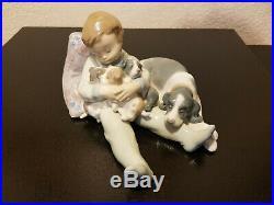Lladro Figurine 1535 Sweet Dreams, Mint, Retired, Boy Sleeping, Puppies, Dog