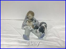 Lladro Figurine #1535 Sweet Dreams Young Boy Sleeping with Mother Dog & Puppies