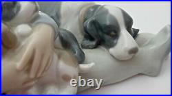 Lladro Figurine #1535 Sweet Dreams Young Boy Sleeping withMother Dog & Puppies