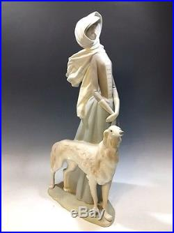 Lladró Figurine 4594 Lady With a Borzoi (Russian Dog) Matte Finish 15 1/2H