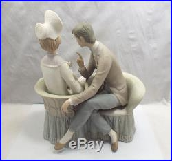 Lladro Figurine #4830 You and Me, Man & Woman with Dog on Couch, Matte Finish