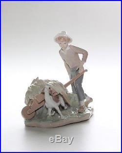 Lladro Figurine, 4852, Gardener In Trouble. Boy Wheelbarrow Dog