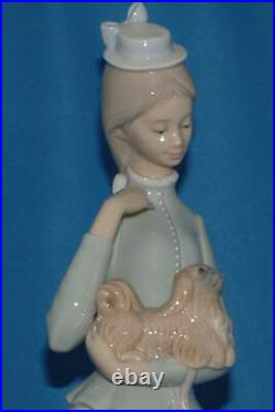 Lladro Figurine, 4893 Walk With The Dog, Lady with her dog