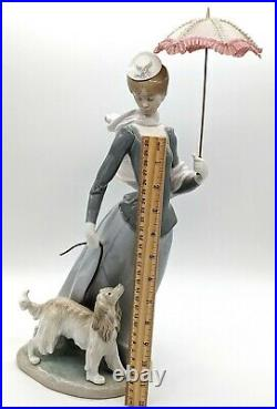 Lladro Figurine 4914 Lady With Shawl Dog Umbrella Retired with Box! Almost Perfect