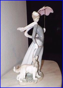 Lladro Figurine 4914 Woman With Dog Shawl & Umbrella 18 Tall With Box