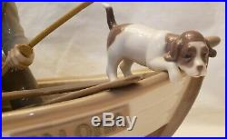 Lladro Figurine #5215 FISHING WITH GRAMPS Boy withGrandfather, Dog & Boat NOS