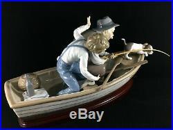 Lladro Figurine #5215 Fishing With Gramps Brand Nib Boy Grandfather Dog Boat