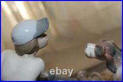 Lladro Figurine 5376 HE'S MINE Boy Mama Dog Basket Puppies Retired Mint