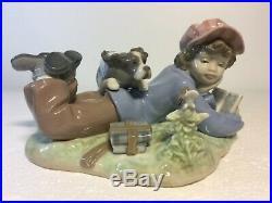 Lladro Figurine 5451 Study Buddies, Mint, Retired, Boy, Dog, Books (C)