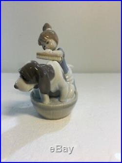 Lladro Figurine 5455 Bashful Bather, Mint, Girl giving Dog a Bath
