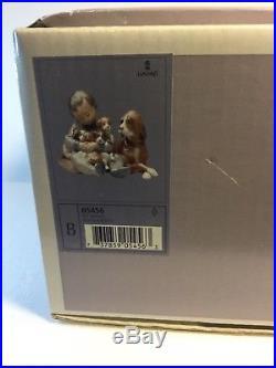 Lladro Figurine 5456 New Playmates, Mint, Retired, original box, Boy Dog Puppies