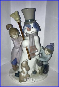 Lladro Figurine #5713 The Snowman, Boy Girl & Dog Around Snowman