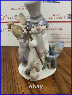 Lladro Figurine #5713 The Snowman Boy Girl & Dog Around Snowman