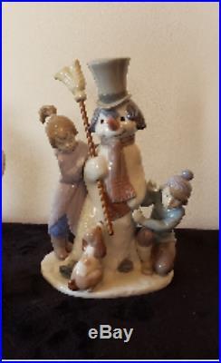 Lladro Figurine #5713 The Snowman, Boy Girl & Dog Around Snowman, Mint No Box