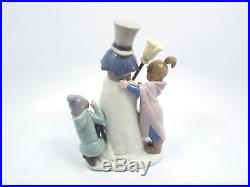 Lladro Figurine #5713 The Snowman, Boy Girl & Dog Around Snowman, Mint in Box
