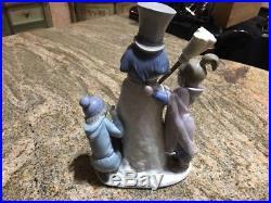 Lladro Figurine 5713 The Snowman Mint, Girl, Boy, Dog, Children, Winter