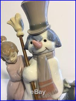 Lladro Figurine 5713 The Snowman Mint, Retail $495, Girl, Boy, Dog, Children