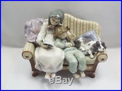 Lladro Figurine #5735 Big Sister, Siblings & Dog On Couch