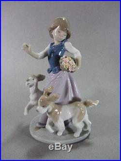 Lladro Figurine 5761 Out For a Romp Girl With Dogs Excellent In Original Box