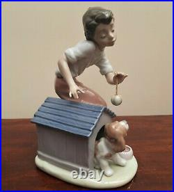 Lladro Figurine #5797 Come out and Play Boy with Dog & Ball VGC