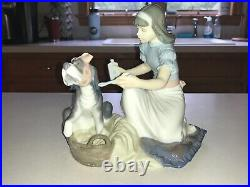 Lladro Figurine 5921 Take Your Medicine Girl with Dog Excellent Condition