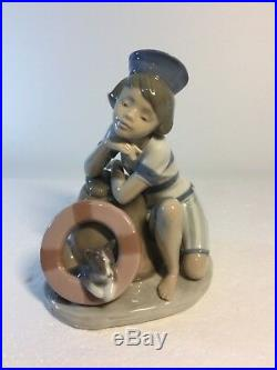 Lladro Figurine 6011 Monday's Child, Mint, Retired, Boy, Dog, Sailor Hat