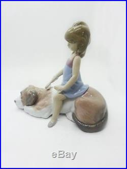 Lladro Figurine #6229 Contented Companion New In Box Girl Sitting On Dog