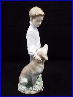Lladro Figurine #6902 My Loyal Friend, Boy with Dog